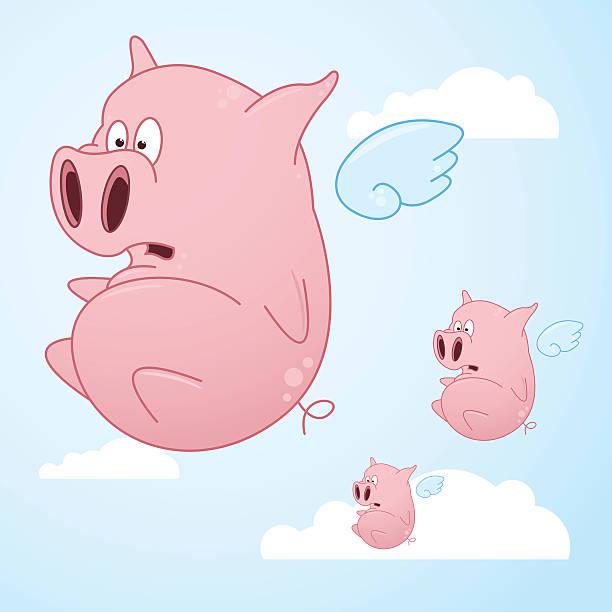 Flying Cartoon Pigs vector art illustration