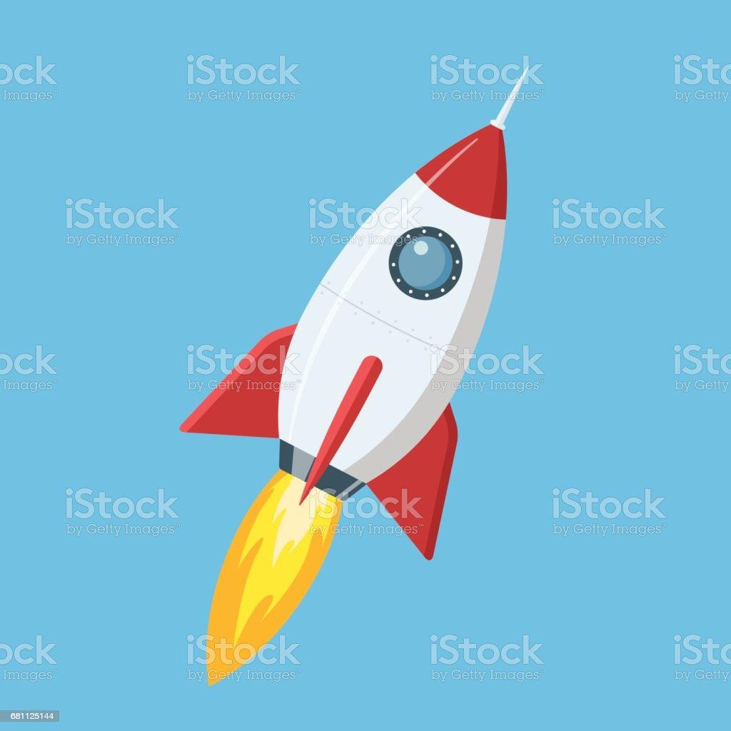 Flying cartoon rocket in flat style isolated on blue background. Vector illustration. vector art illustration