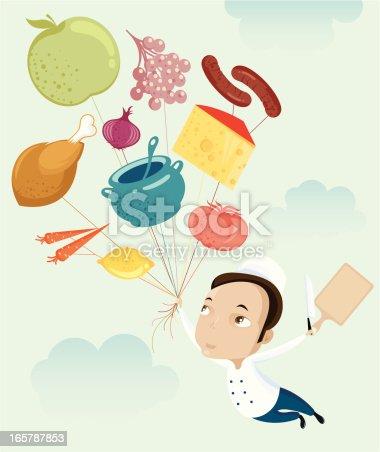 istock Flying chef. 165787853