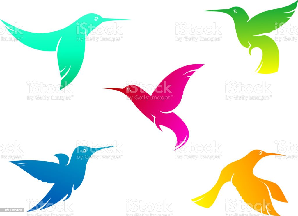 Flying color hummingbirds royalty-free stock vector art