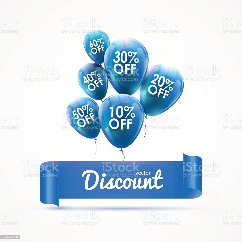 Flying colored blue balloons with ribbon and discount text. SALE vector art illustration