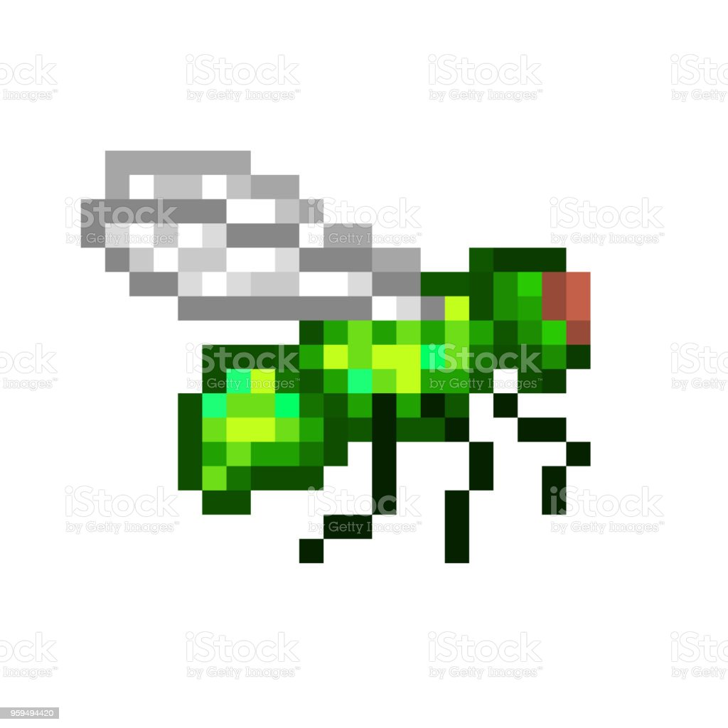 Vetores De Voando Comum Garrafa Verde Voar Pixel Art ícone