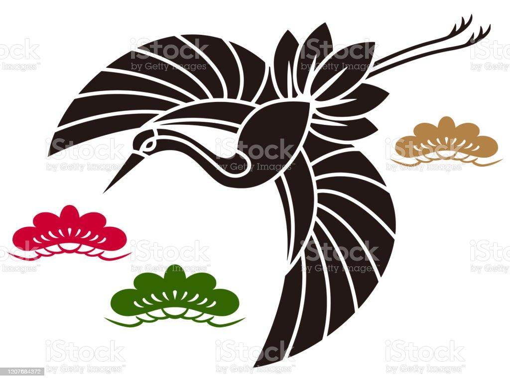 飛んでいる鶴 切り絵風 背景素材 ベクター イラスト お守りのベクターアート素材や画像を多数ご用意 Istock