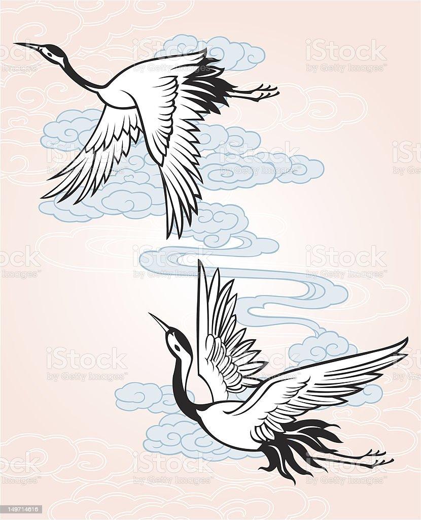 flying crane illustration royalty-free flying crane illustration stock vector art & more images of animal
