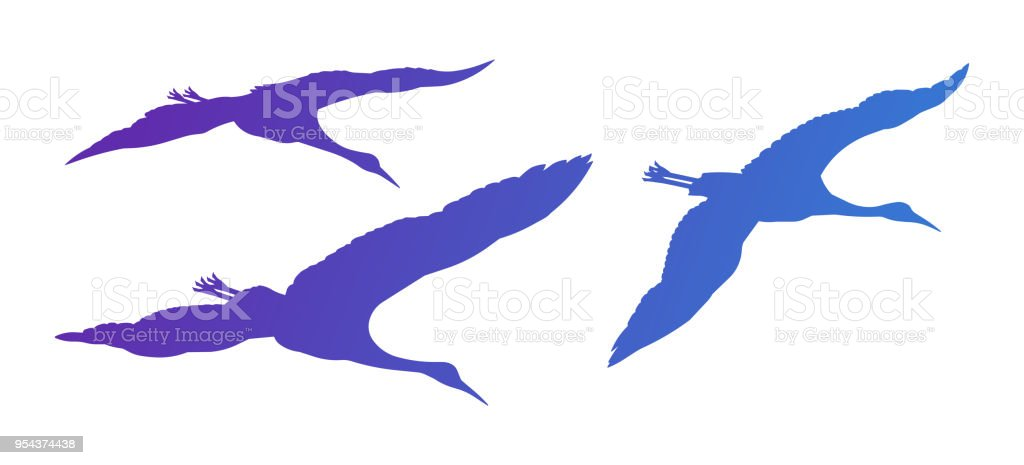 Flying Crane Silhouettes vector art illustration