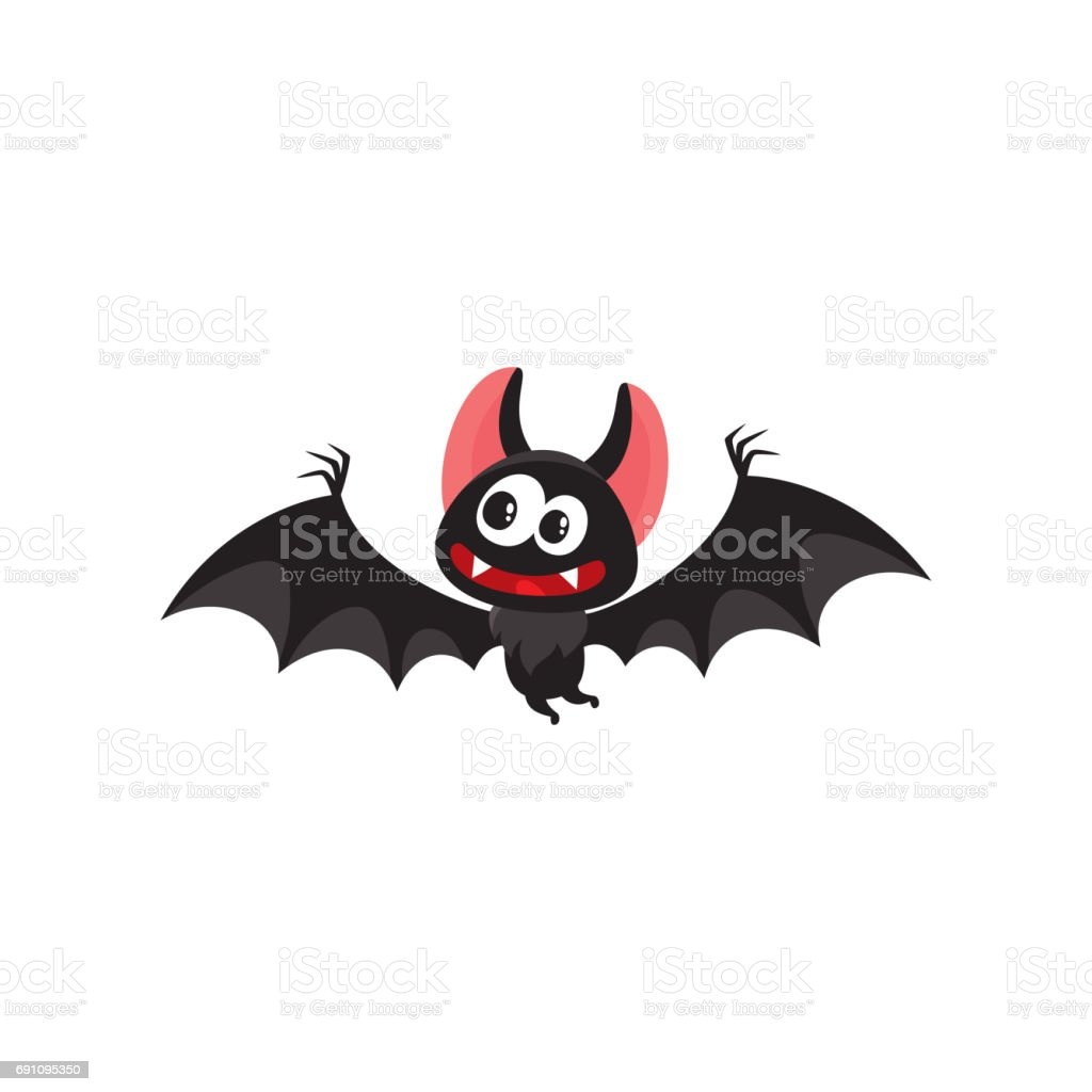 Flying crazy vampire bat, traditional Halloween symbol, cartoon vector illustration vector art illustration