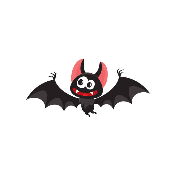flying crazy vampire bat, traditional halloween symbol, cartoon vector illustration - bat stock illustrations, clip art, cartoons, & icons