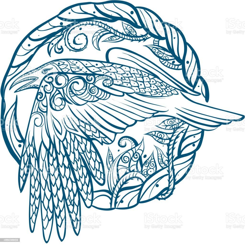 Flying Crow tribal tattoo royalty-free stock vector art