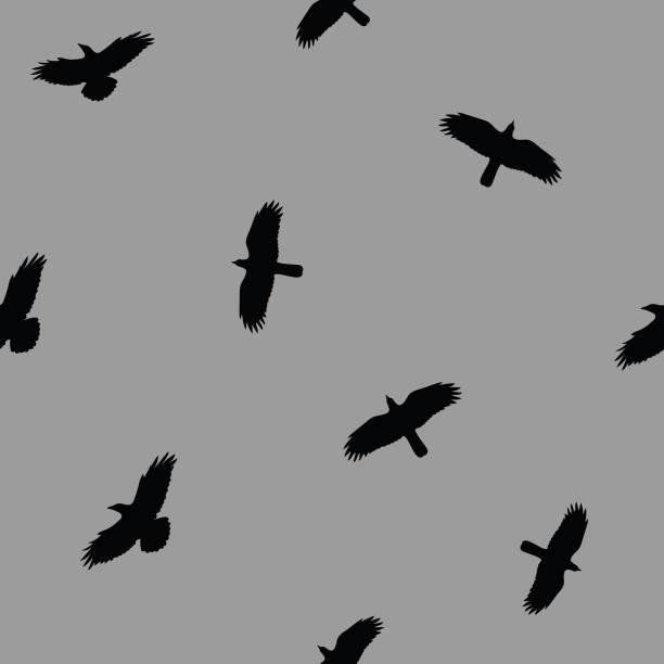 Flying crows in the dark grey sky seamless pattern vector art illustration