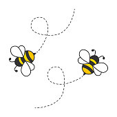 istock Flying cute bees with dotted route. 1291649836