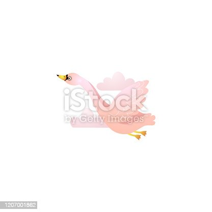 Flying cute pink swan among the clouds. Raster illustration in the flat cartoon style
