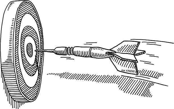 Flying Dart Success Target Drawing Hand-drawn vector drawing of a Flying Dart about hitting the Center of the Target, Success Concept Image. Black-and-White sketch on a transparent background (.eps-file). Included files are EPS (v10) and Hi-Res JPG. game stock illustrations