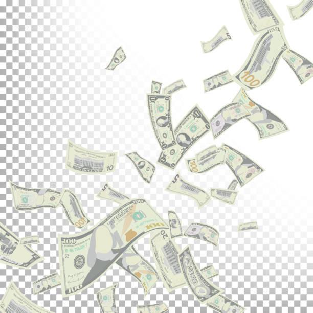 flying dollar banknotes vector. cartoon money - banknot stock illustrations, clip art, cartoons, & icons