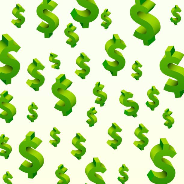 ilustrações, clipart, desenhos animados e ícones de símbolos de dólar voando sobre o fundo cinza. - símbolo do dólar