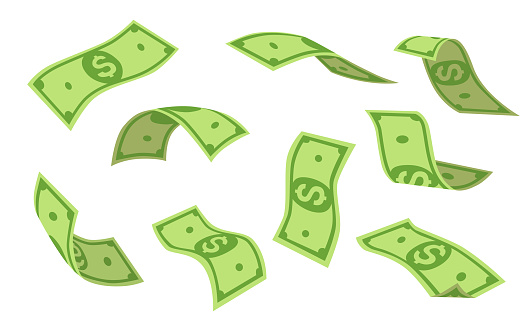 Flying dollars set. Money rain, falling cash isolated on white background. Vector illustration collection for finance, bingo, currency, success, investment concept