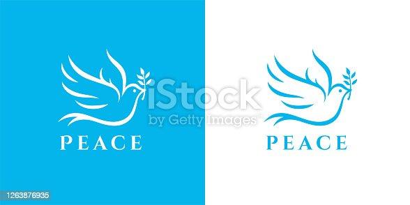 istock Flying dove icon peace symbol 1263876935