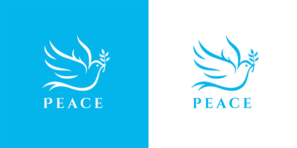 Flying peace dove with olive branch symbol. Spiritual purity sign. Peaceful christian charity icon. Vector illustration.