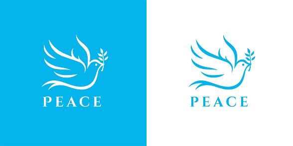 Flying dove icon peace symbol