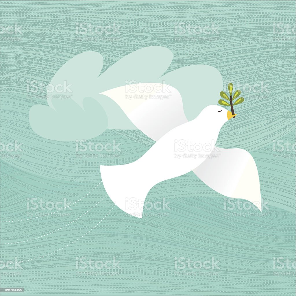 Flying Dove With An Olive Branch In Its Beak royalty-free stock vector art