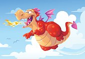 Vector illustration of a cheerful red dragon flying high in the sky, breathing fire.