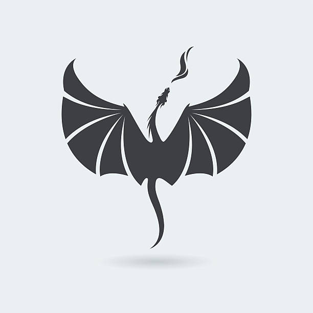 flying dragon icon - dragon stock illustrations