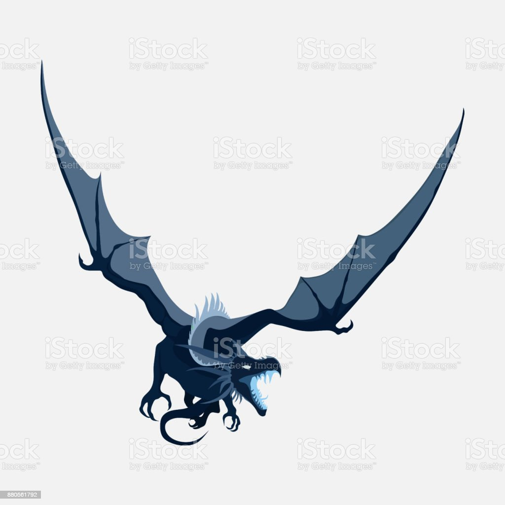 flying dragon, zodiac symbol, company logo vector art illustration