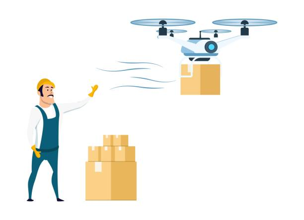 stockillustraties, clipart, cartoons en iconen met vliegende drone levering van opslag of magazijn - warehouse worker