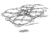 Flying Drone Quadcopter Drawing