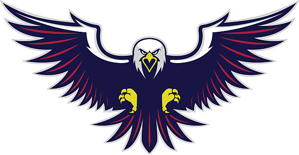 flying eagle mascot - eagle character stock illustrations, clip art, cartoons, & icons