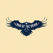 Brave flying eagle silhouette with replaceable text part on striped background