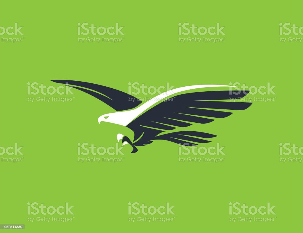 flying eagle symbol vector art illustration