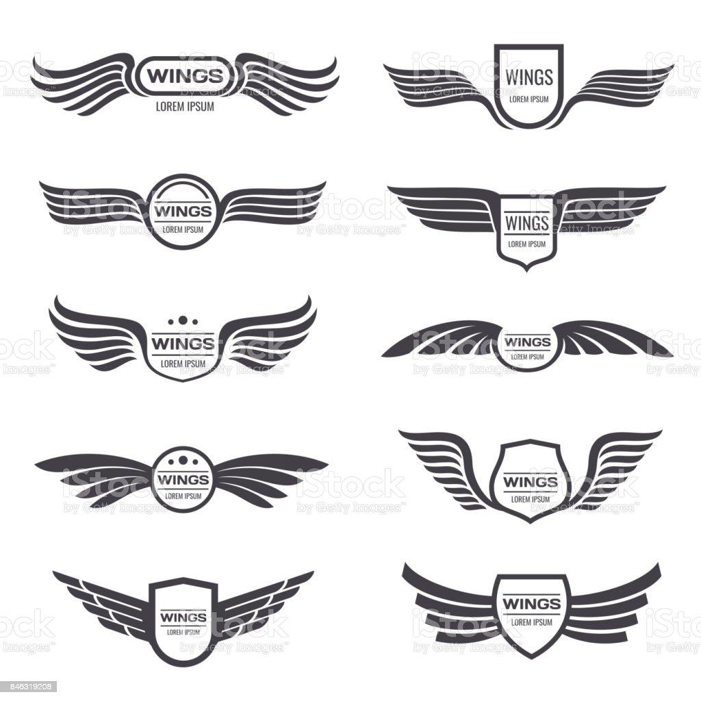 Flying eagle wings vector symbols set. Vintage winged emblems and labels vector art illustration