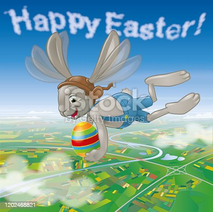 istock Flying easterbunny with egg over landscape 1202468821