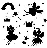 Flying fairies silhouettes isolated on white background. Magical features of fairy world. Isolated elements for stickers, scrapbook and etc