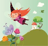 A flying fairy girl portrayed in a fairy tale setting.