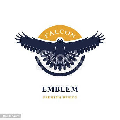 Vector illustration of Flying Falcon. Elegant logo template. Silhouette of a wild bird with spread wings. Retro style. Art emblem.