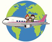 Flying family around the world.