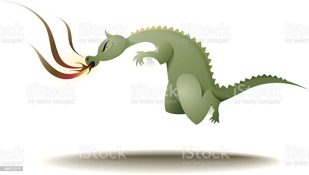 Flying, fire-breathing dragon - Royaltyfri Aggression vektorgrafik