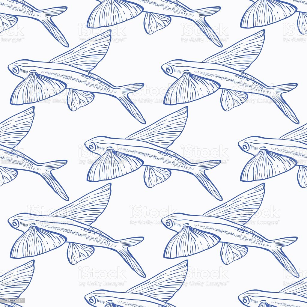 Flying Fish Seamless Vector Pattern Stock Vector Art & More Images ...