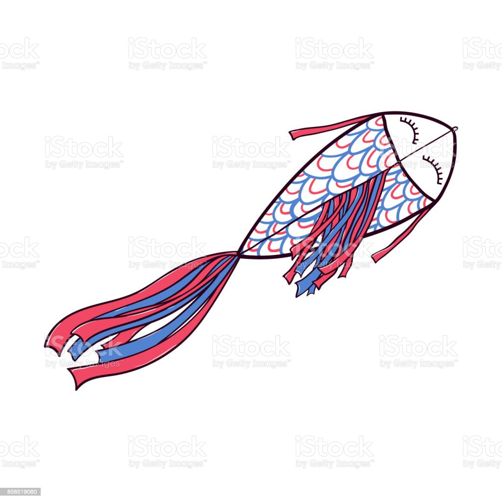 Flying Fish Shaped Doodle Kite With Ribbon Tail Stock Vector Art ...