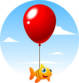 Flying orange and yellow fish tied up to a big red balloon, vector illustration.