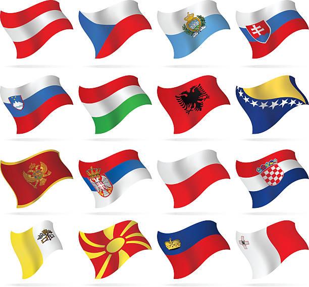 フライングフラッグ-中央および南ヨーロッパ - ポーランドの国旗点のイラスト素材/クリップアート素材/マンガ素材/アイコン素材
