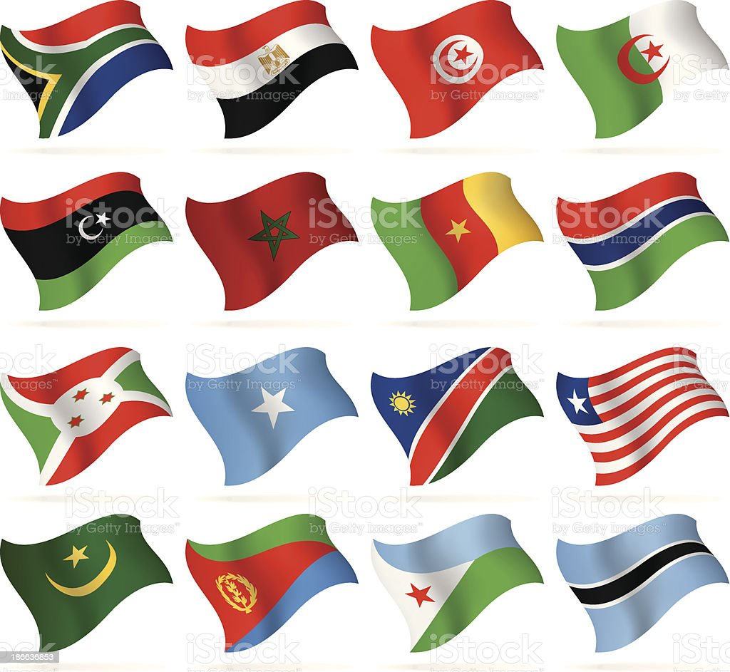 Flying Flags Collection - Africa vector art illustration
