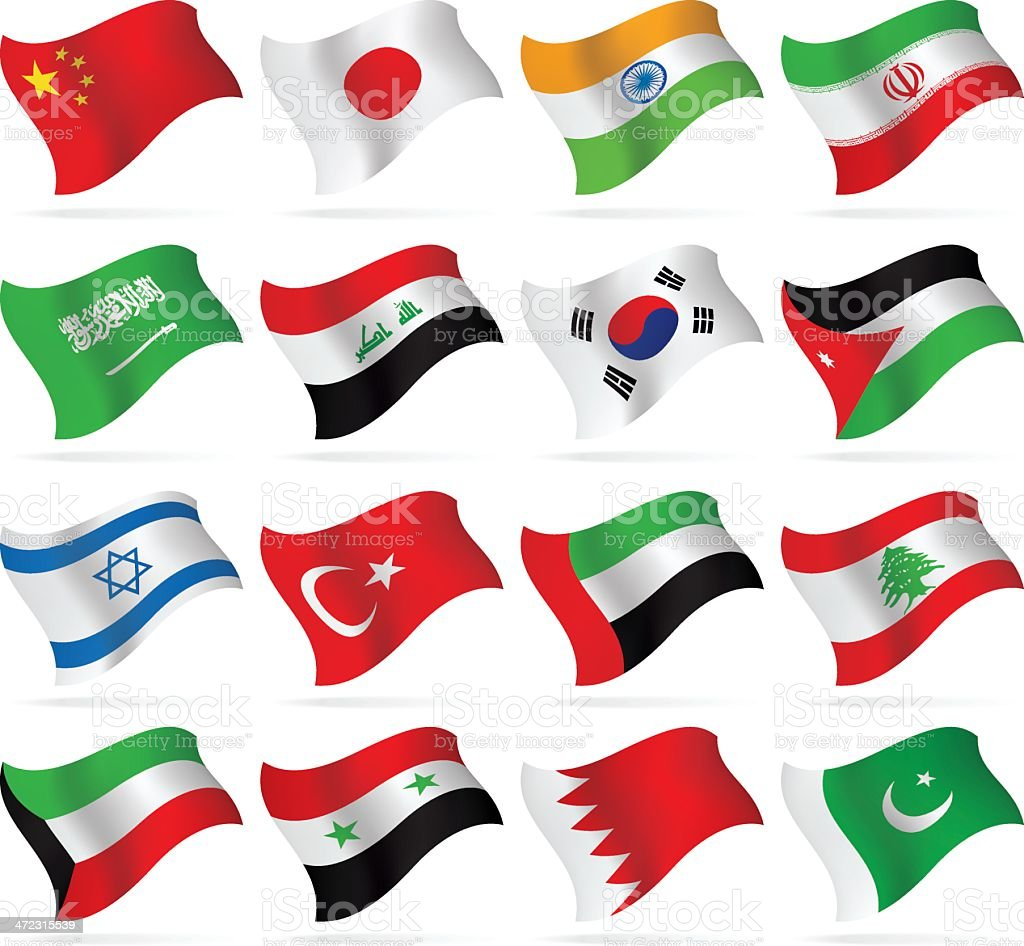 Flying Flags collection - Asia vector art illustration