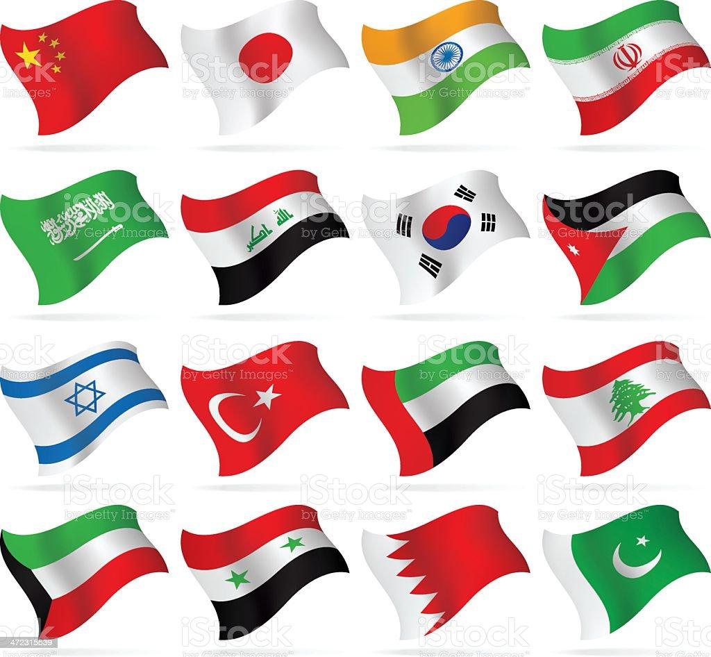 Voando Flags collection-Ásia - ilustração de arte em vetor