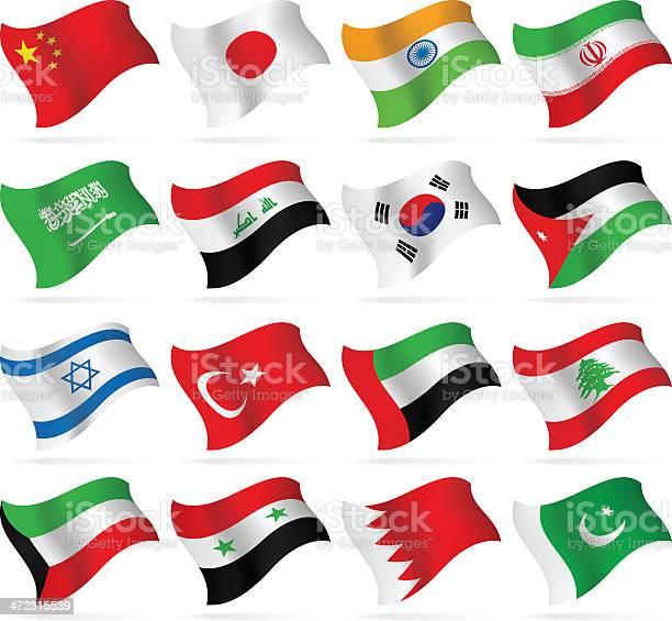 Flying Flags Kolekcjaazja - Stockowe grafiki wektorowe i więcej obrazów Arabia Saudyjska