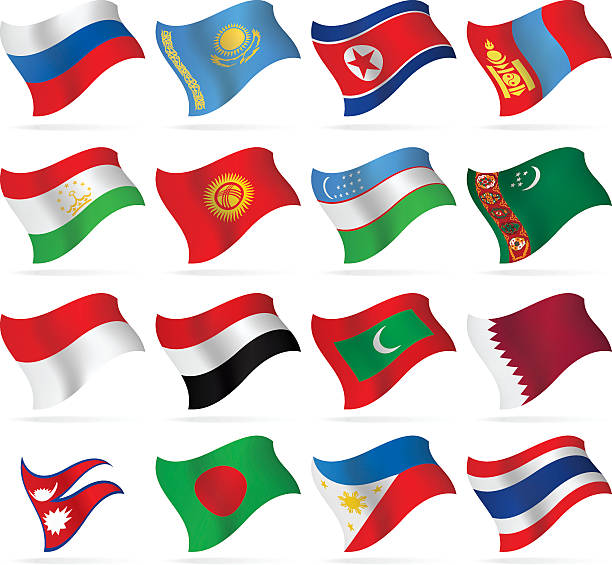 flying flags collection - asia - thai flag stock illustrations, clip art, cartoons, & icons