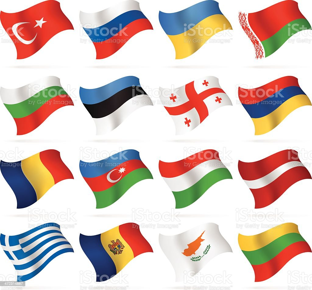 Flying Flags - East and Southern Europe vector art illustration