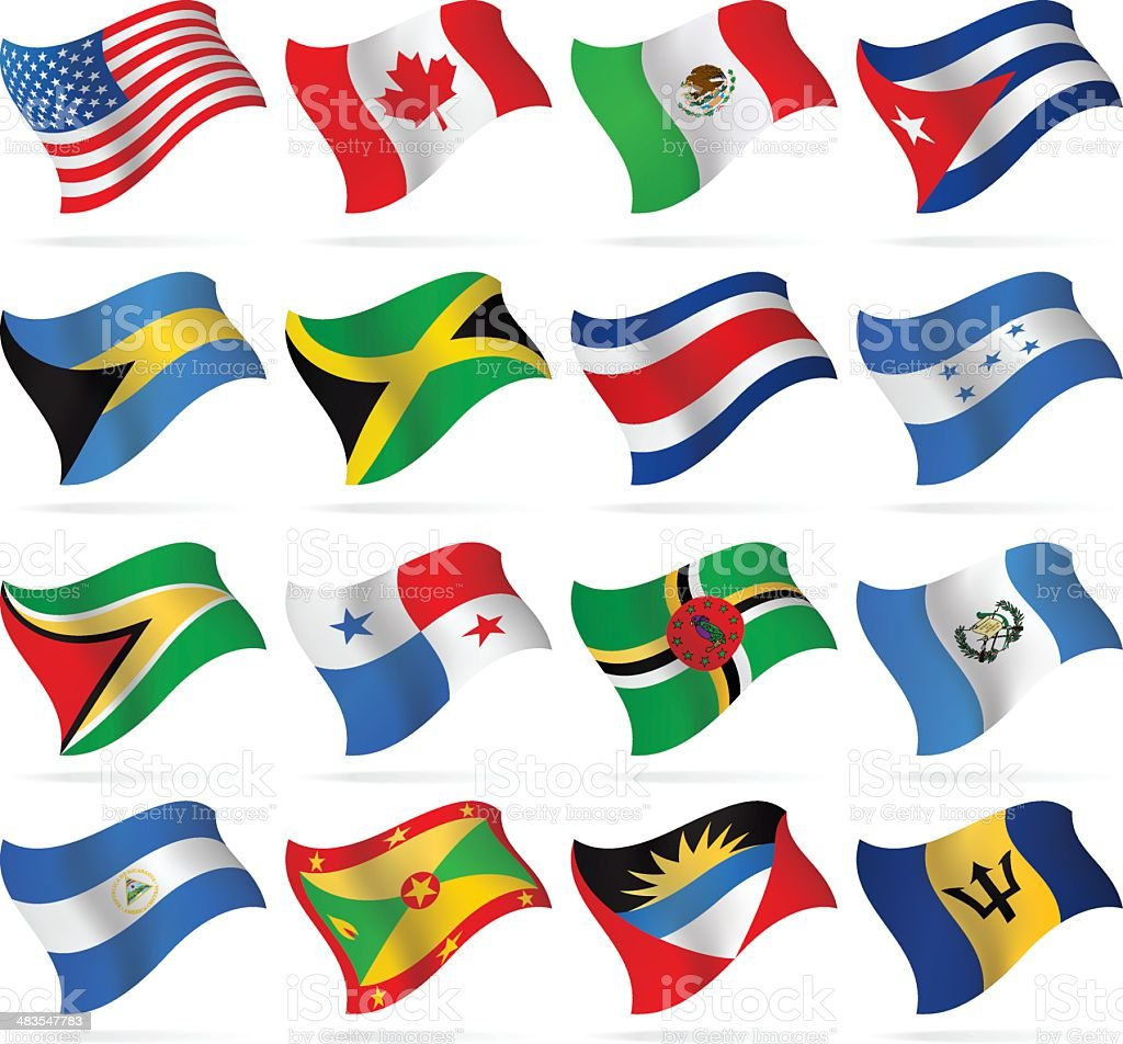 Flying Flags - North and Central America vector art illustration