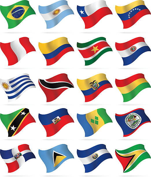 flying flags - south and central america - ecuador flag stock illustrations
